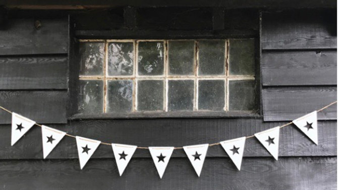 White Wooden Bunting with Cut Out Stars