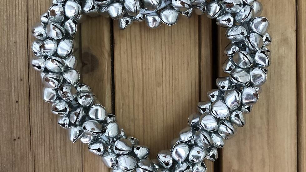 Silver Effect Metal Bells Hanging Heart
