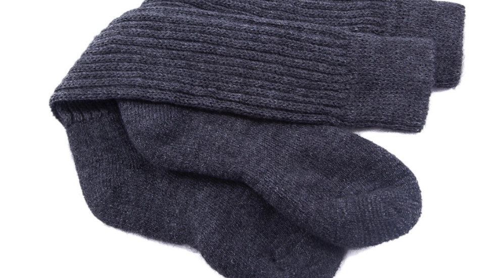 Alpaca Unisex Ribbed Socks - Charcoal