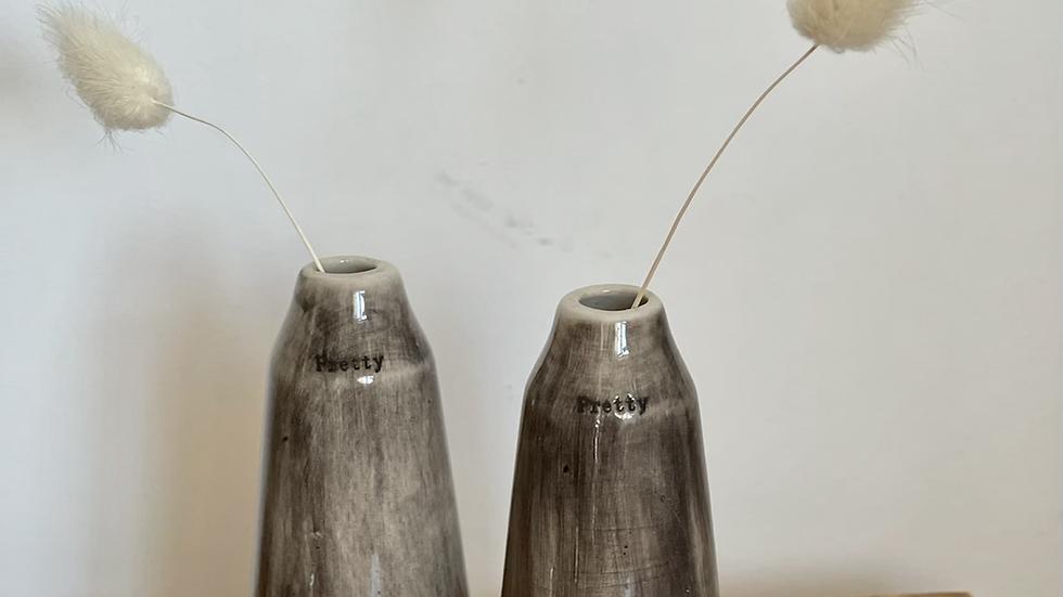 Rustic Grey Glaze Bud Vase