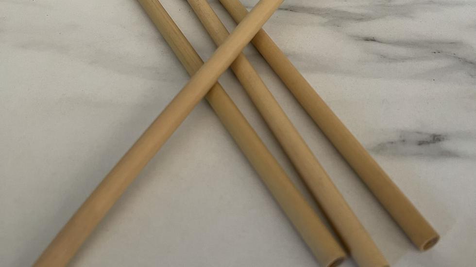 Box of 10 Bamboo Straws with Brush