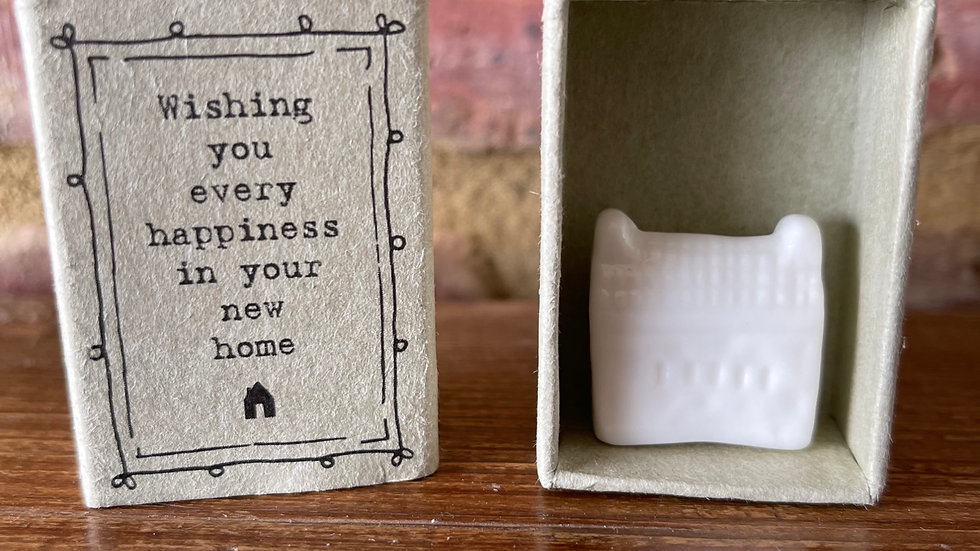 White Ceramic House in a Match Box - New Home