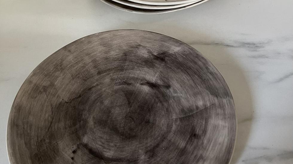 Ceramic plate with black wash glaze