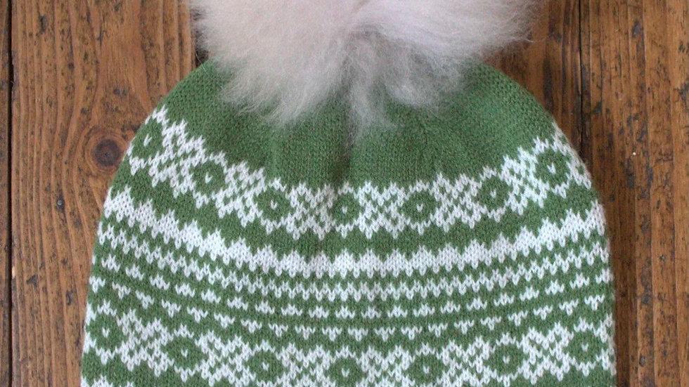 Alpaca Pom Pom Hat & Mitts Set