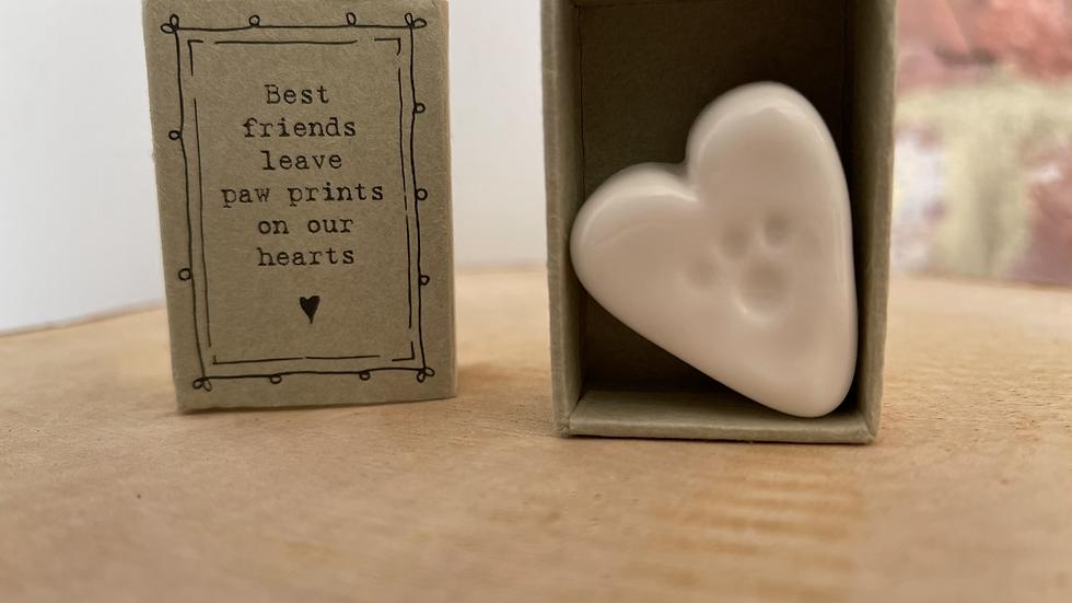 White Ceramic Heart - Paw Prints