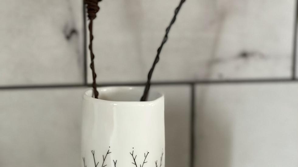'Wild Flowers' White Ceramic Vase