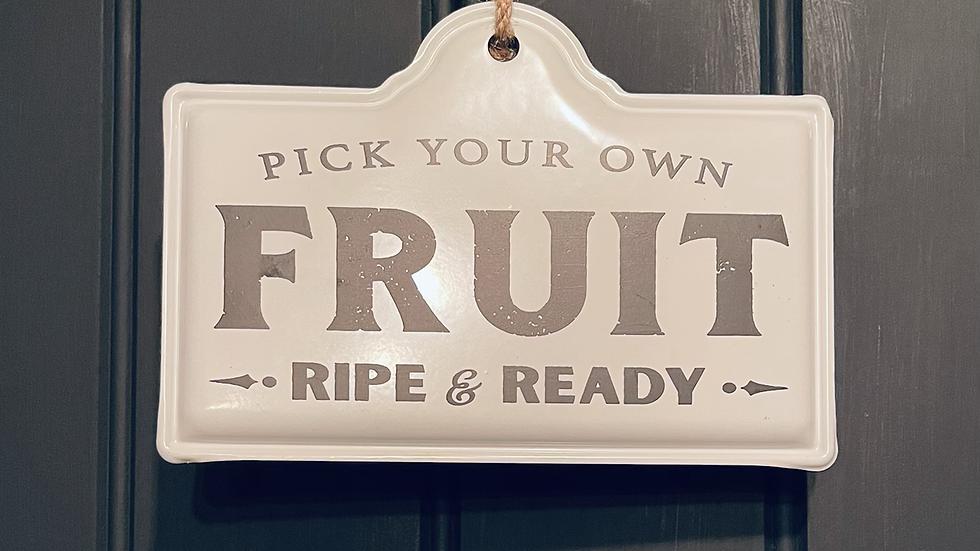 Vintage Enamel Kitchen Fruit Sign