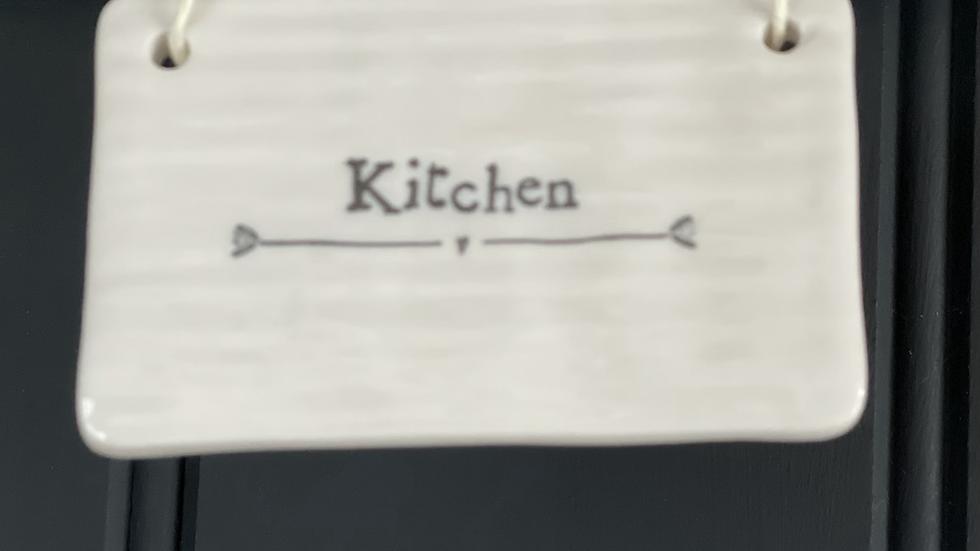 White Porcelain Kitchen Sign