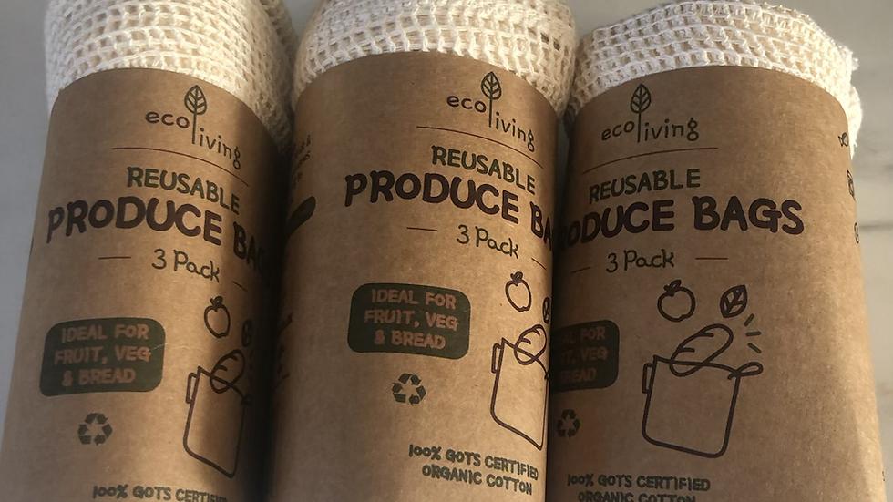 EcoLiving Organic Produce Bags & Bread Bag set 3pk