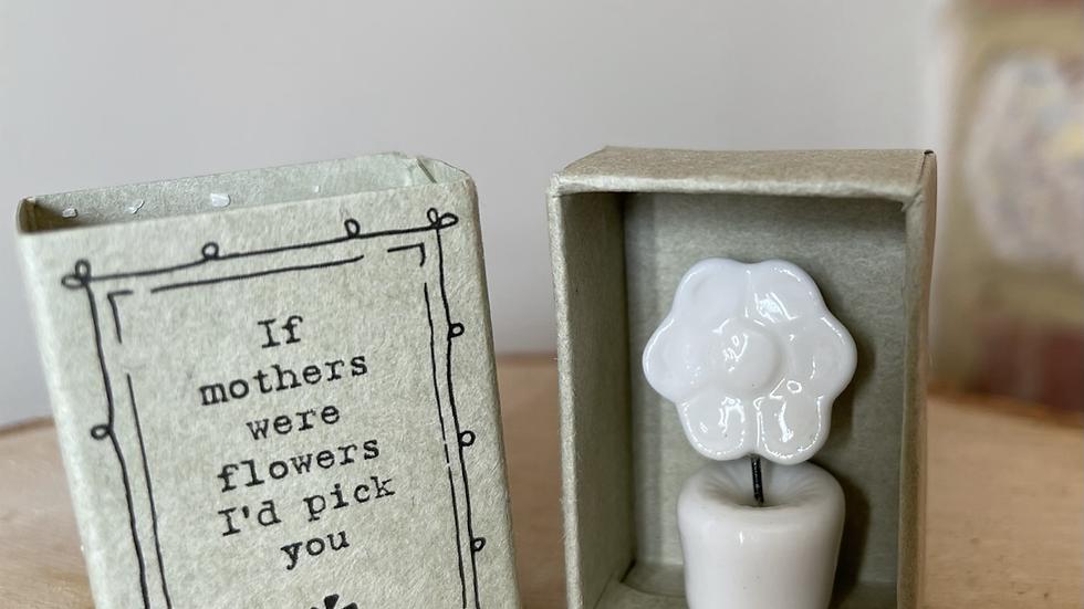 White Ceramic Flower on a Block - Mother