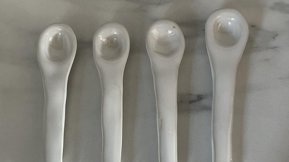 White Pottery Spoon - medium