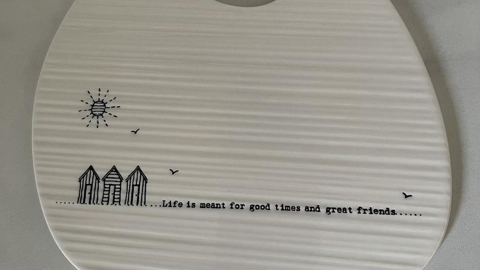Small White Porcelain Platter Plate - Friends