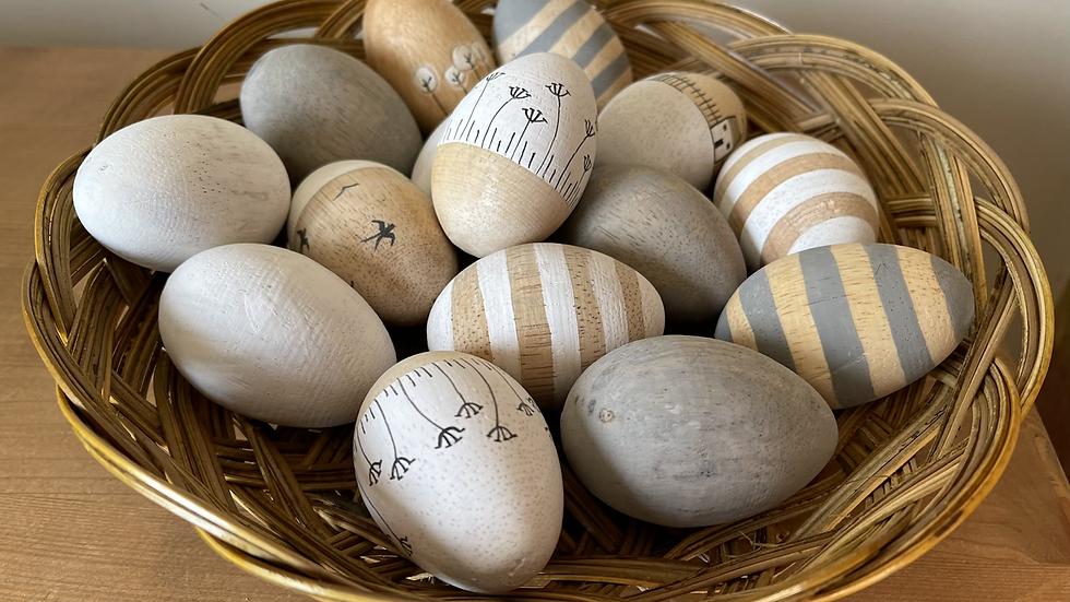 Striped Wooden Egg
