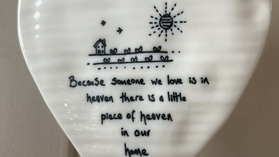 White Ceramic Hanging Heart - Heaven