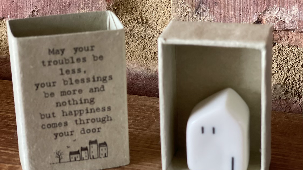 Ceramic House in a match box - Blessings