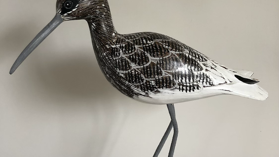 Fishing Curlew Carved Bird