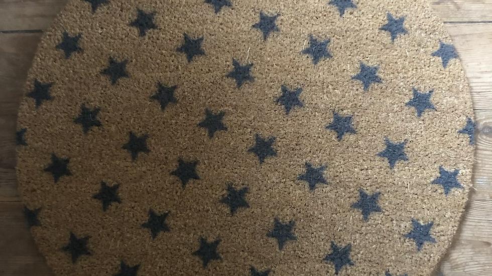 Grey Stars Circular Doormat