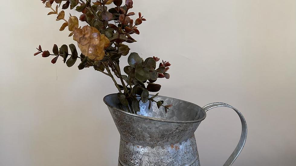 Distressed Metal Jug Vase