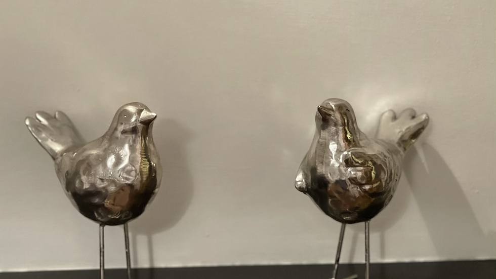 Silver Resin Birds (pair)