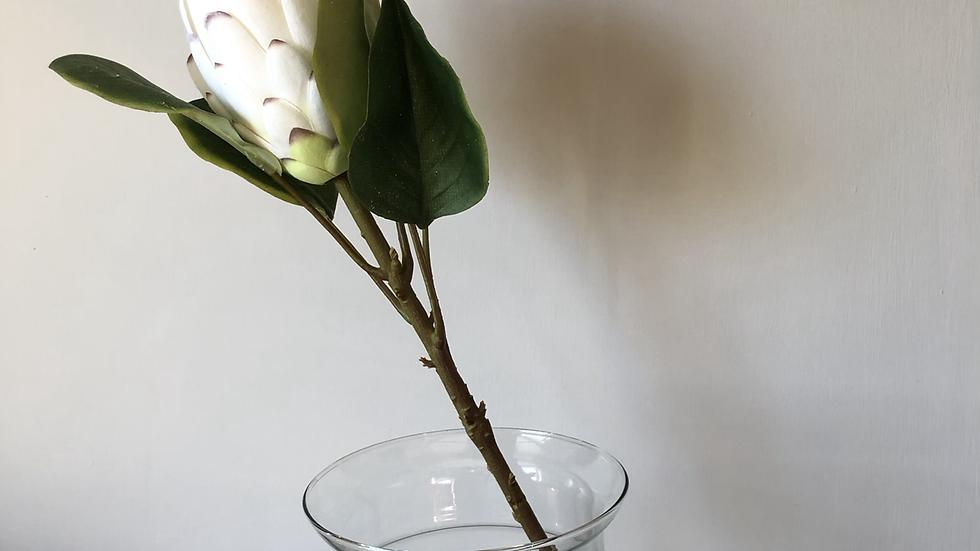 Faux Closed White Protea