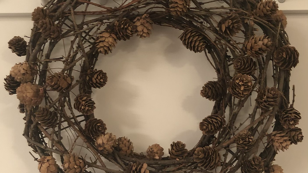 Natural Pine Cone and Twig Wreath