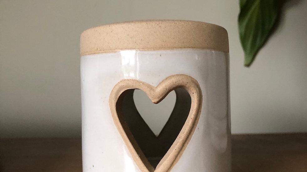 Ceramic Heart Cut Tealight Holder