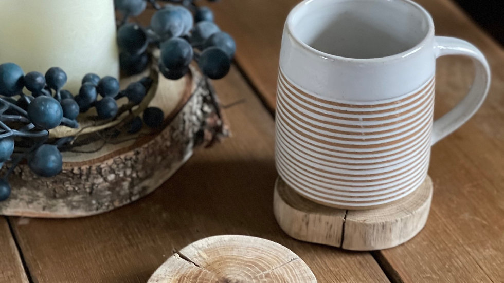 Handmade Log Slice Coasters Set of 4