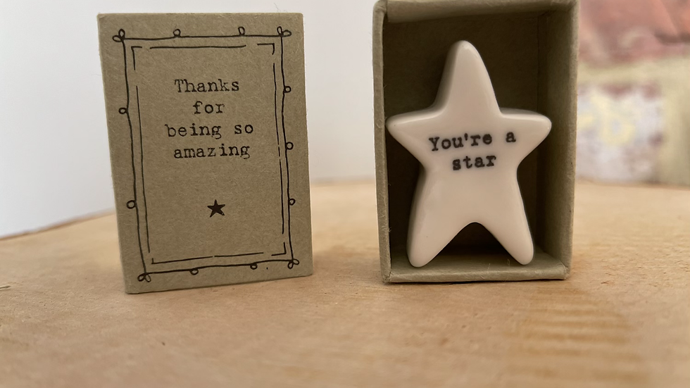White Ceramic Star in a Match Box