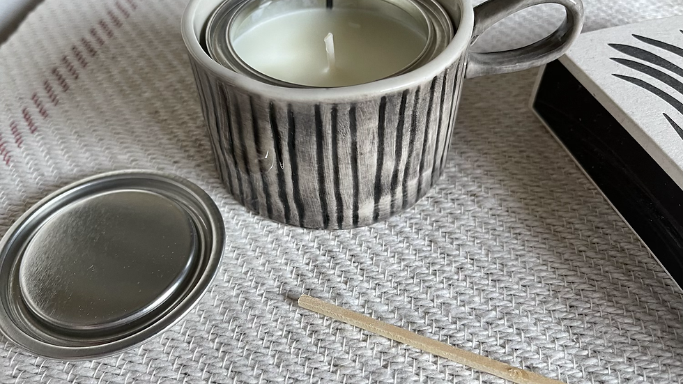 Ceramic Handled Candle Holder (with candle)