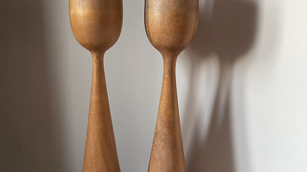 Tall Natural Wood Tea Light Holders (pair)