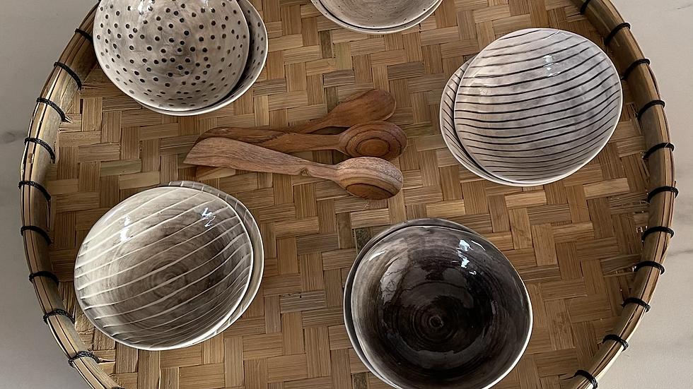Medium ceramic glazed dip bowl - hand painted