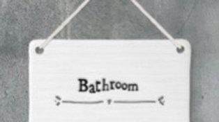 White Porcelain Bathroom Sign