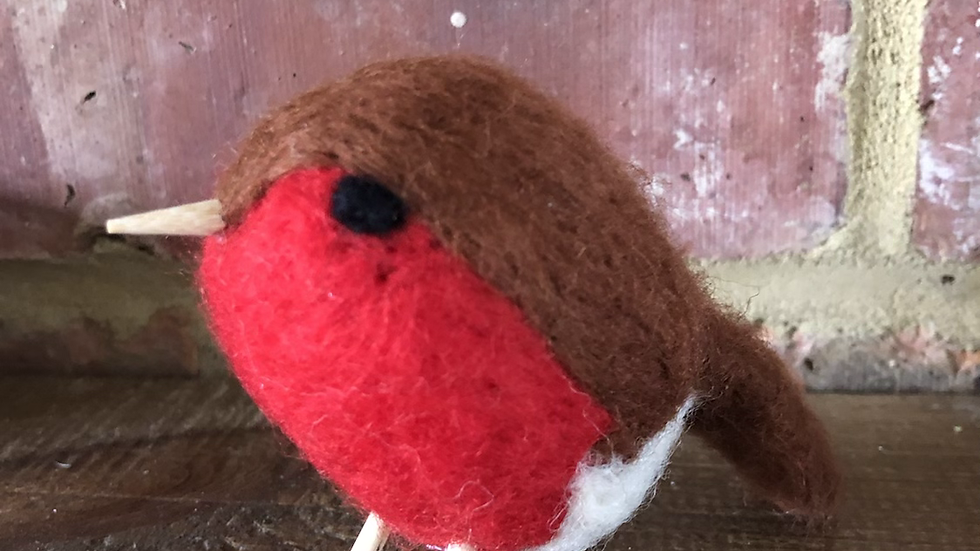Standing Red Robin Felted Ornament