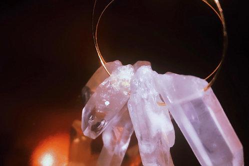 Triple Quartz Goddess Earrings