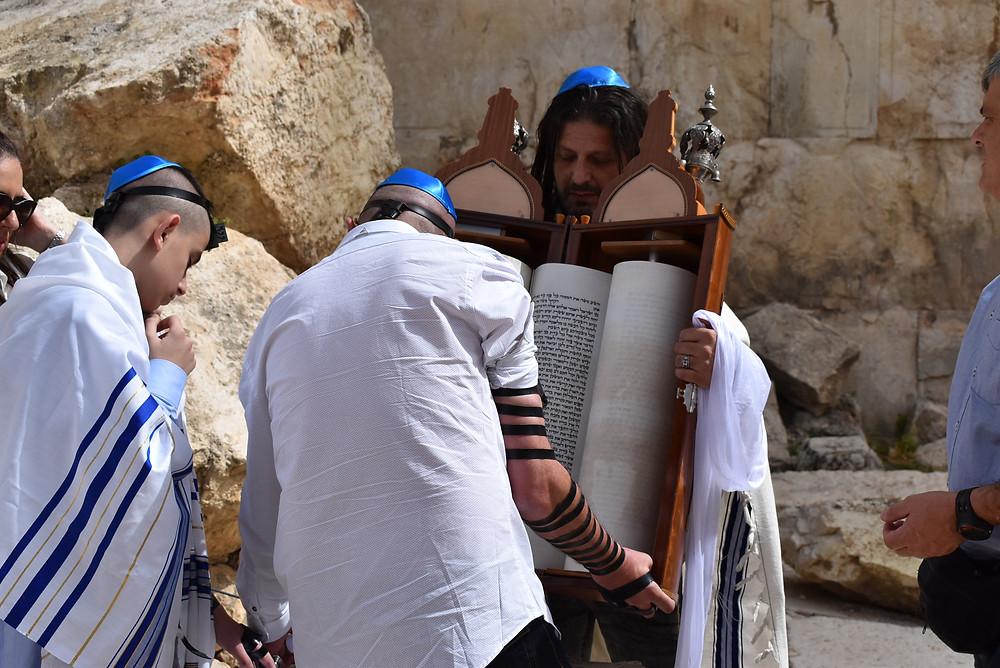 Reading the Torah at the Bar Mitzva Ceremony at Kotel