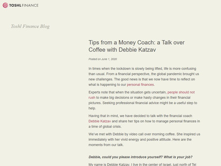 Tips from a Money Coach: a Talk over Coffee with Debbie Katzav