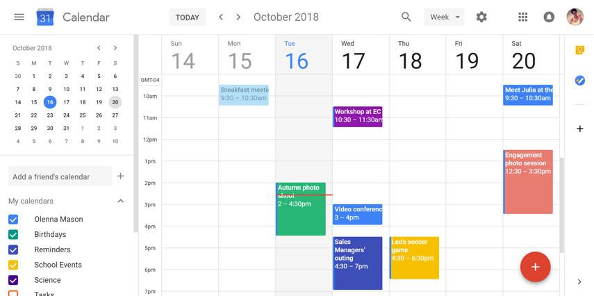 Using a digital calendar increases productivity