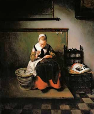 A Young Woman sewing , 1655. Oil on panel 55.6 x 46.1 cm. Londres, Mansion House, The Harold Samuel Collection © Guildhall Art Gallery, City of London / Harold Samuel Collection / Bridgeman Images