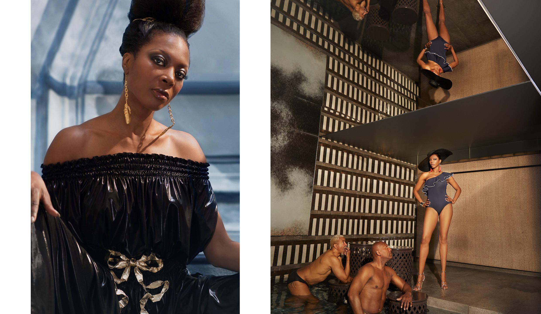 Left: Jumpsuit Lamée Norma Kamali, crown & earrings Nad de Paris, Right: Hat Elisabetta Franchi, Swimsuit ID Sarrieri, Earrings H&M Studio, Bracelet Misaki Monaco, Shoes Imane Ayissi.