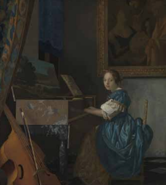 A woman sitting at a Virginal, ca. 1671-1674. Oil on canvas. 51.5 x 45.5cm. Londres, The National Galle-ry © National Gallery, London