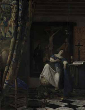 The Allegory of the Catholic Faith , ca. 1670-1672. Oil on canvas. 114.3 x 88.9 cm. New York, The Metropolitan Museum of Art, The Friedsam Collection, legs Friedsam, 1931 © The Metropolitan Museum of Art, Dist. RMN-Grand Palais / image of the MMA