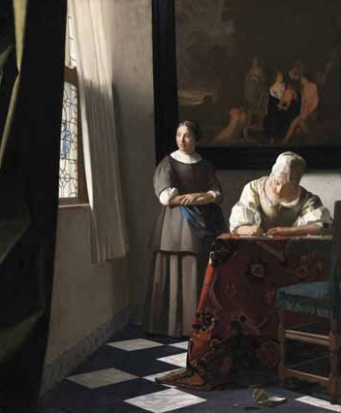 A Lady Writing a Letter, with her Maid , ca. 1670, Oil on canvas, 72.2 x 59.7 cm. Dublin, National Gallery of Ireland, Sir Alfred et Lady Beit, 1987 (Beit Collection) © Dublin, National Gallery of Ireland