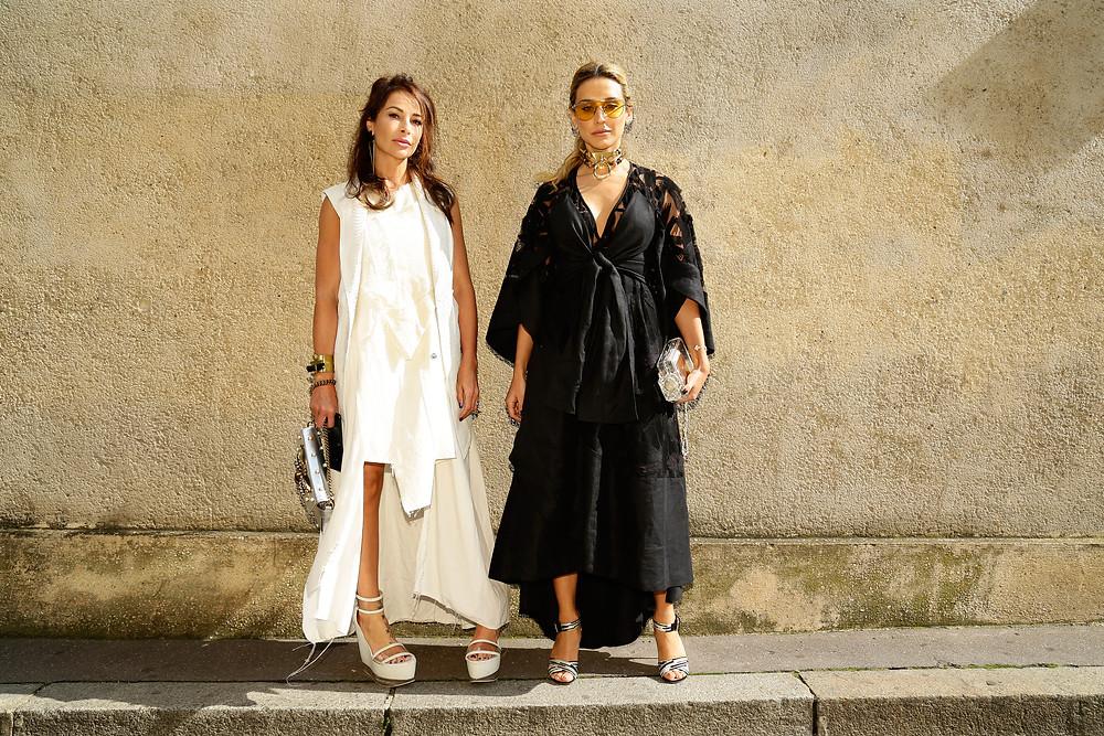 Erika Santos Maria with gucci handbag & wearing Ocksa dress, Fernanda wearing Dolce Gabana shoes & Chanel handbag, Diorss/18, Musée Rodin,Paris