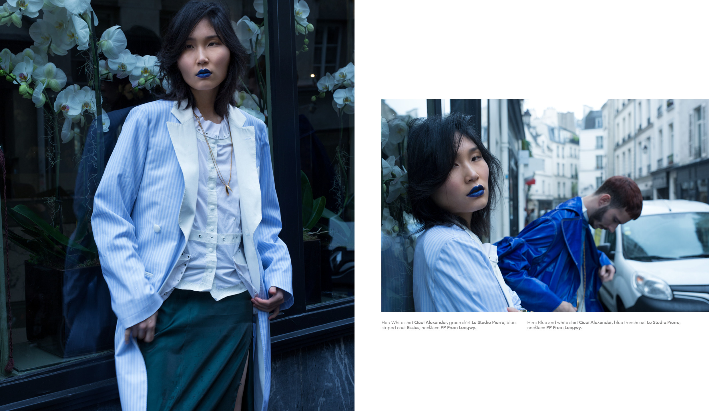 Her: White shirt Quoï Alexander, green skirt Le Studio Pierre, blue striped coat Essius, necklace PP From Longwy. Him: Blue and white shirt Quoï Alexander, blue trenchcoat Le Studio Pierre, necklace PP From Longwy.