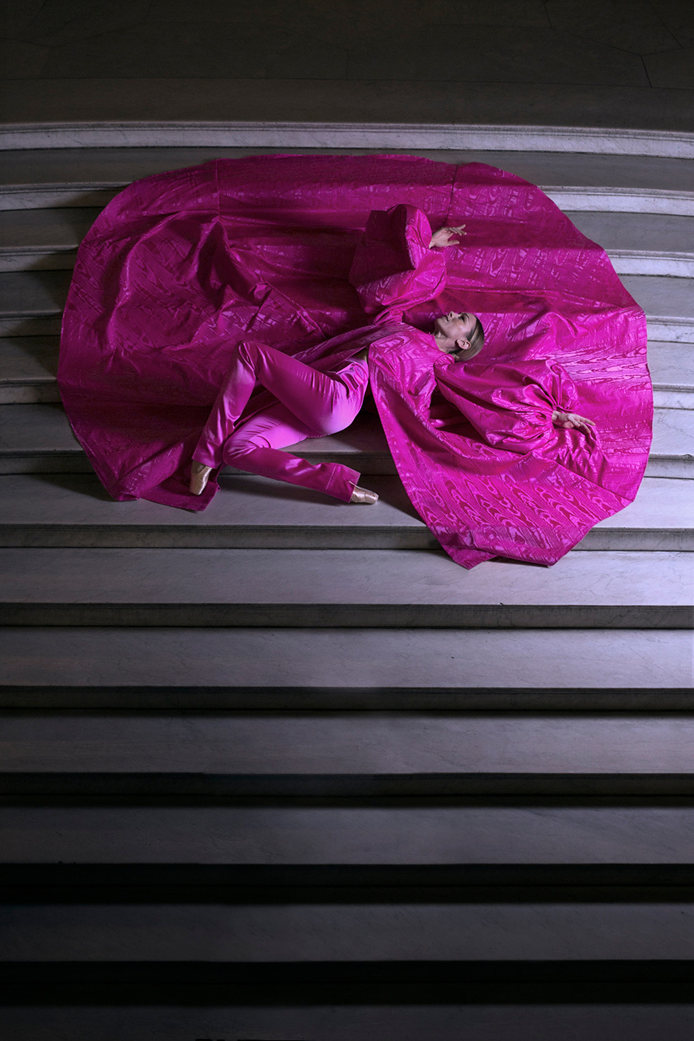 Eleonora Abbagnato in « SHOCKING » Coat in shocking pink silk moiré. Pants in shocking pink silk duchess satin. Schiaparelli July 2018 Haute Couture collection. Photographed at the Opera de Paris by French Cowboy.