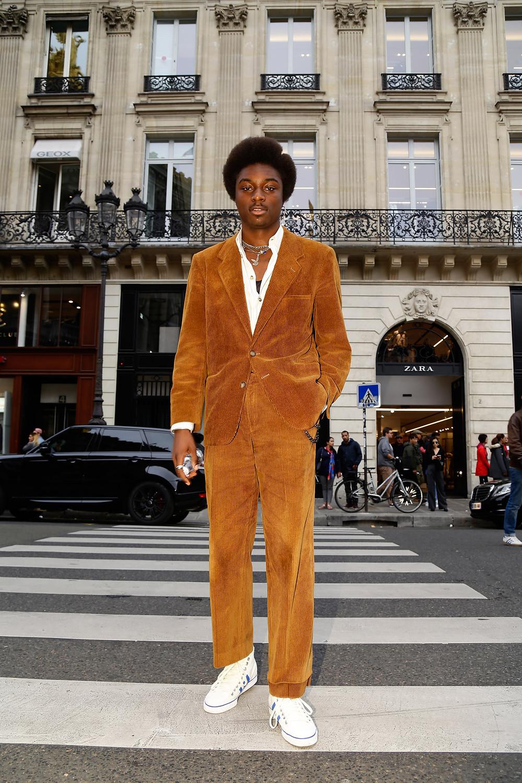 Marc-Henri Ngandu wearing a Versace vintage velvet suit & adidas shoes  Balmain ss/18, Opéra Garnier, Paris