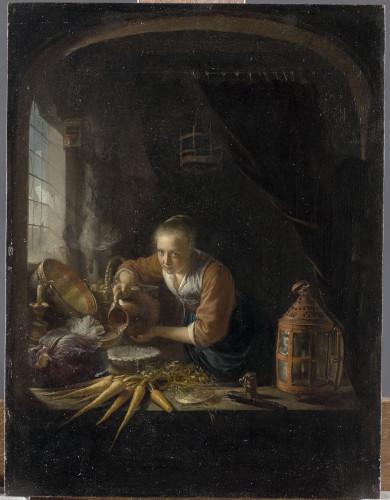 A kitchen Maid pourring water into a jar , 1640s, or early 1650s. Oil on panel. 36 x 27.4 cm. Paris, musée du Louvre, département des Peintures © RMN-Grand Palais (Musée du Louvre) / Tony Querrec