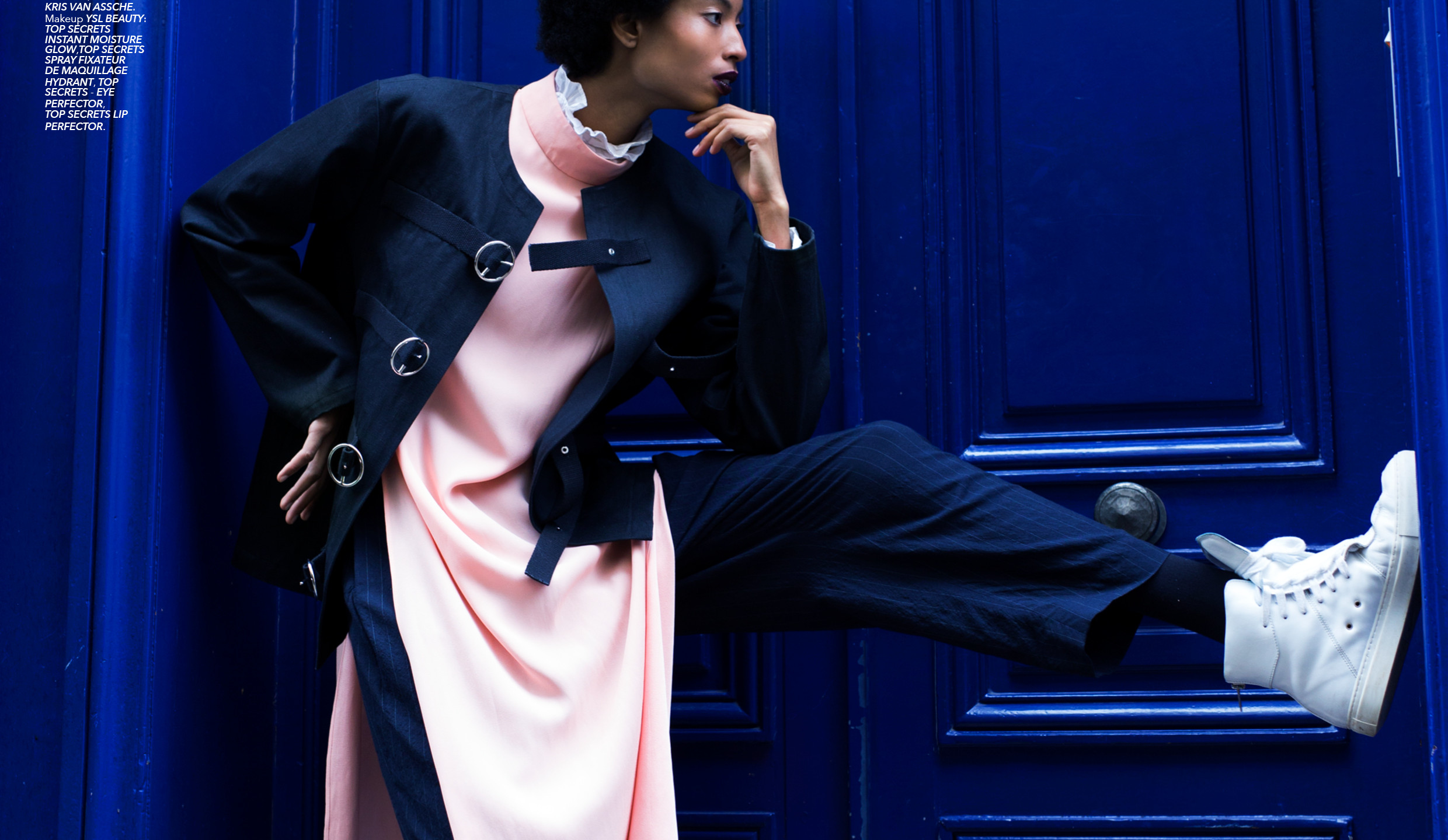 Black canvas jacket GNDR, pink long tunic KALYAH, navy striped pants HED MAYNER, shoes KRIS VAN ASSCHE. Makeup YSL BEAUTY.