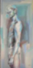 Fanitsa Petrou Art. Nude painting of a man. Traditional art by Fanitsa Petrou, realistic painting of a man, realistic art, painting of man standing, big canvas, buy Art online, www.fanitsa-petrou.com