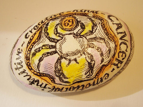 Cancer 4 - Hand painted Zodiac Stone